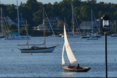 Bristol Harbor Sailboat at Twilight